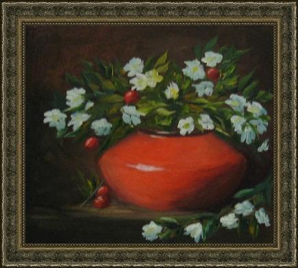 Букет пионов Масло, 40х60 см - 4